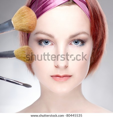woman beauty makeup red hair