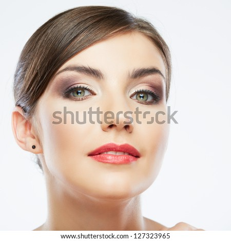 Woman beauty portrait. isolated on white. close up female face.