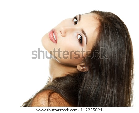 Woman Beauty, portrait of beautiful young fresh girl with long healthy strong brown hair. Isolated on white background