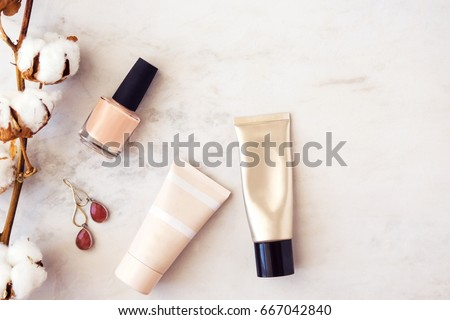Woman beauty products flatlay on white marble background. Minimal style, blogging concept. Copy space #667042840