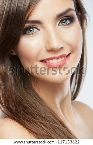 Woman beauty style fashion portrait . isolated. close up female face. Long hair.