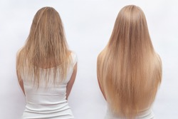 Woman before and after hair extensions on white background. Hair extension, beauty, tress, hair growth, styling, salon concept. Length and volume.