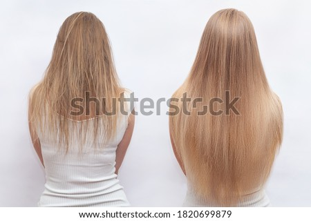 Woman before and after hair extensions on white background. Hair extension, beauty, tress, hair growth, styling, salon concept. Length and volume. Stockfoto ©