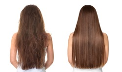 Woman before and after hair treatment on white background