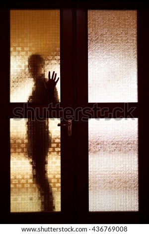 Stock Photo Woman behind the matte glass door blurred silhouette