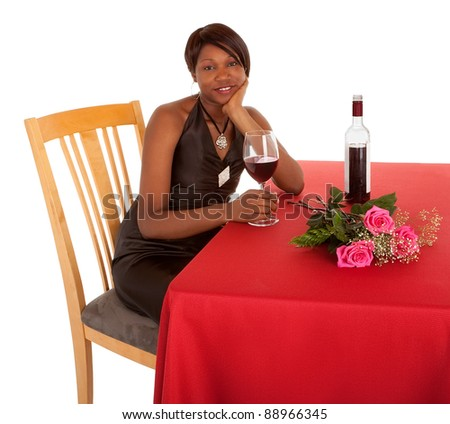 Woman Being Courted by Someone with Flowers an Wine