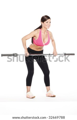 Woman Bending Holding Barbell