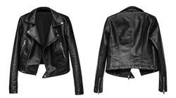 Woman black leather jacket isolated on white background