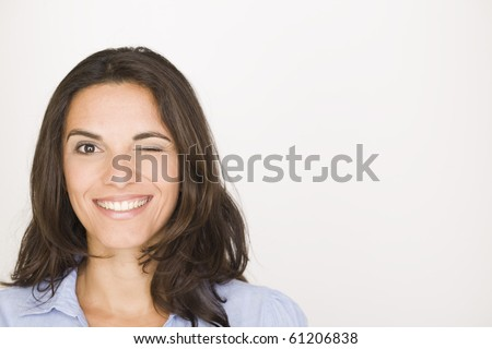 Woman blinks and twinkles