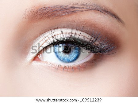 Woman blue eye with extremely long eyelashes