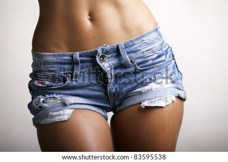 Woman body  in jeans texas shorts