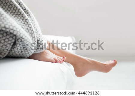 Woman Body Legs Bed Awaking Morning Step Female Foot Sleep Relax Concept