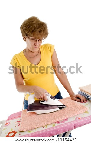 woman bored of doing the ironing, isolated on white