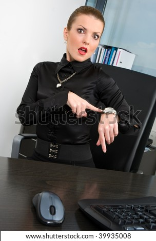 woman boss pointing at watch and showing time