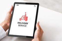 Woman Browsing Delivery Service App On Digital Tablet, Holding Tab Computer With Red Icon Of Courier Guy Riding Scooter On Screen, Enjoying Modern Technologies For Shopping And Shipping, Collage