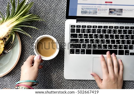 Woman Browsing Internet Website Concept
