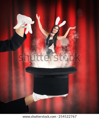 Woman bunny magically comes out of hat