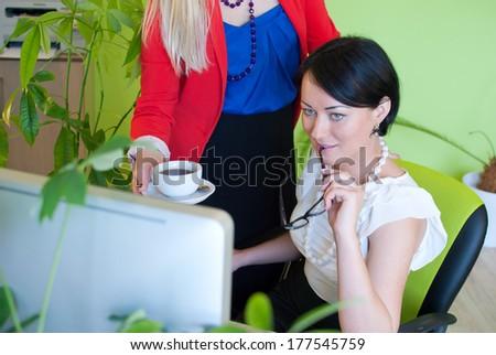Woman business office coffee break