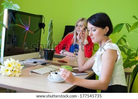 Woman business office coffee break work