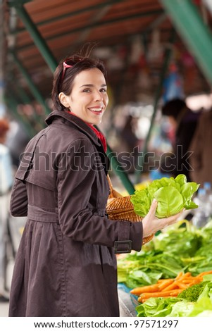 Woman buying fresh vegetables at the market - stock photo