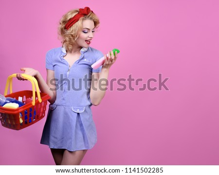 Woman buys cleaning products for cleaning in supermarket. Pin up girl on shopping. Woman with basket in shop. Cleaning product, detergents, home care. Retro style. Sale. Discount. Copy space for store