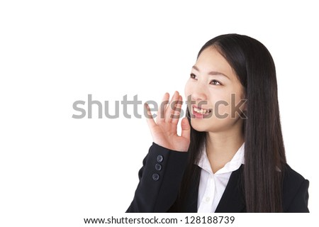Woman calling for putting their hand to their mouth