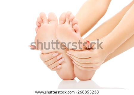 Woman cares about her feet. #268855238