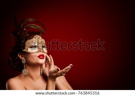 Woman Carnival Mask Jewelry, Beauty Fashion Model in Masquerade Masque, Girl Blowing Lips Air Kiss
