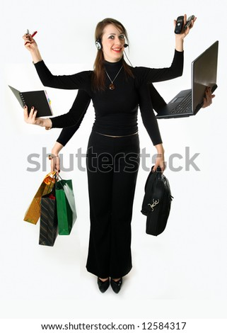 Woman carries out many matters simultaneously 6 by the hands