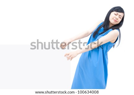 Woman carrying blank billboard, isolated on white background.