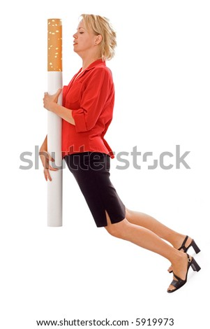 Woman carrying giant cigarette - funny illustration of heavy smoking - and the burden on one's health - isolated