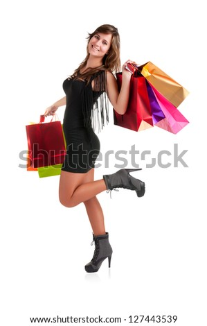 Woman Carrying Shopping Bags isolated in a white background