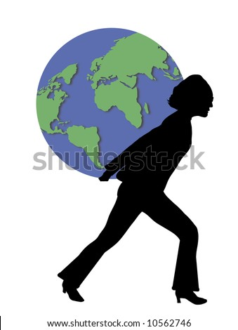 woman carrying world
