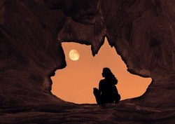 Woman Caver Spelunker exploring inside of a Dark Cave. female sitting at the edge of the cave hole.Oval shaped of cave hole.Silhouette of a girl standing in front of the entrance to the cave.full moon