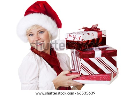 Woman Celebrating the Christmas Season