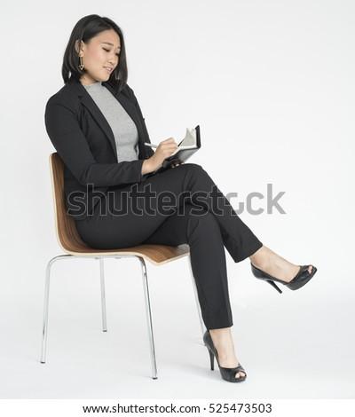 Woman Cheerful Studio Portrait Concept #525473503