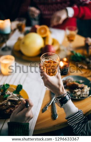 woman cheering relatives with champagne and wine. female holding a glass od juice. cropped photo #1296633367