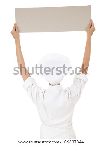 woman chef, baker or cook holding blank board, white background