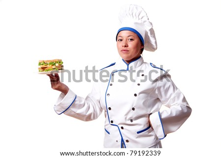 Woman Chef-Cook with sandwich isolated over white background