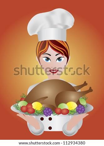 Woman Chef Holding Baked Roast Turkey Dinner Platter Raster Illustration