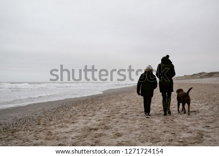 Woman, child and brown Labrador Retriever dog walking at the beach in winter with sea in background #1271724154