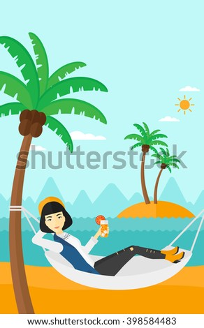 Woman chilling in hammock.