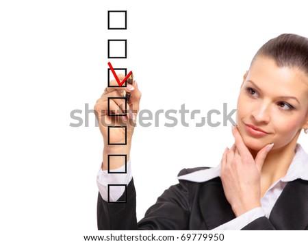 woman choosing one of three options