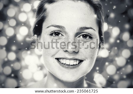 Woman Christmas  New Year portrait,  lights snow black and white  background