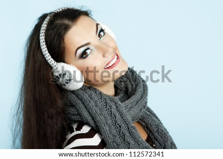 woman christmas, young beautiful smiling girl