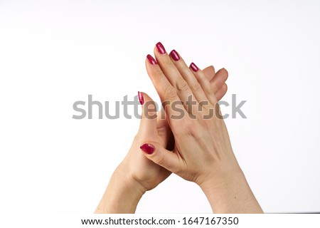 Photo of Woman clapping hands, applause isolated on white.