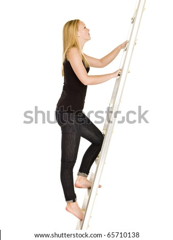 Woman climbing up the ladder isolated on white background