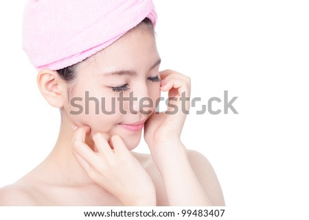 Woman close eyes relax and enjoy after bath spa isolated on white background, model is a asian girl