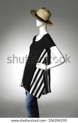 Woman cloth in hat on female mannequin,isolated