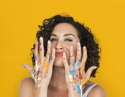 Woman Colourful Hands Studio Portrait Concept